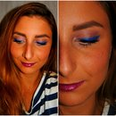 Blue eyeliner summer makeup