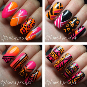 For more nail art, pics of these manis and products & method used visit http://Glowstars.net