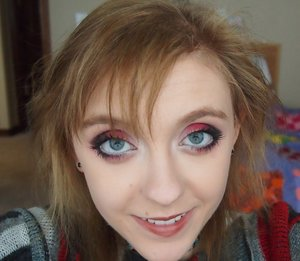 This is a red and black anime look I created because I really wanted to extenuate my eyes.