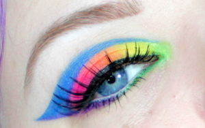 Here is a Neon Rainbow makeup tutorial I did using Drugstore makeup ^_^