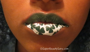 http://superbeautyguru.com/st-patricks-day-makeup-with-lip-tattoo Happy St. Patrick's Day! Here's my St. Patrick's Day makeup for this year! Don't you love the lip tattoo?!  St. Patrick's day, makeup, beauty, leprechaun, green, clover lips, lip tattoo, makeup tutorial, creative makeup, makeup blog