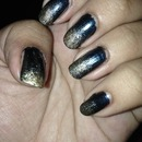 Blue and gold glitter ombré