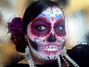 My Dia de los Muertos look that I do every year for our local Day of the Dead Festival as a Catrina. It's all eye shadows and makeup medium except for the jewels
