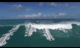 Jet Skis Run From Wave - Eddie Aikau 2016 (HD drone)