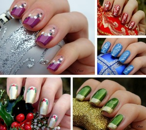 This were my nail designs for Christmas 2012 more on: http://www.beautybysuzi.blogspot.sk/2012/12/some-christmas-nails.html