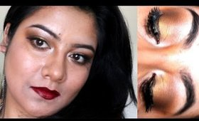 Golden Eyes with dark lips | Christmas Makeup | Seeba86