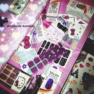 This is a drawer filled with all my sticker nails (which I'm obsessed with) and my Hello Kitty tattoos.