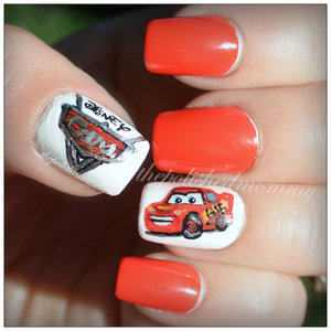 Lightning Mcqueen themed nails I did for my son's 4th birthday party! http://www.thepolishedmommy.com/2014/06/lightning-mcqueen.html
