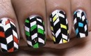 Urban Psychedelic Colors! Nail Polish Designs For Short and Long Nails Colorful Black White Pattern