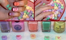 Easy Valentine's Day Candy Heart Nails!