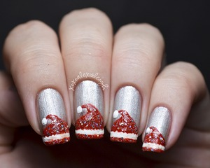 Santa Hat nail art (with tutorial, click the link!) http://www.xoxoalexisleigh.com/2012/12/12docc-red.html