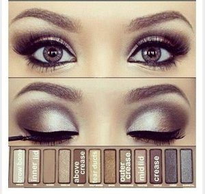 You can recreate this smoky eye look using the Urban Decay Naked Palette.