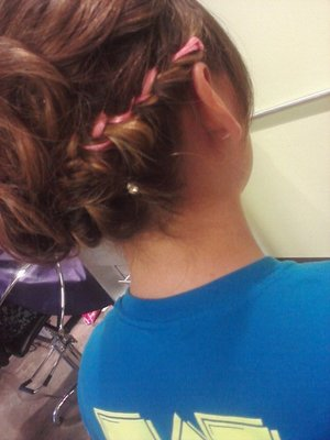 ribbon weaved in french braid