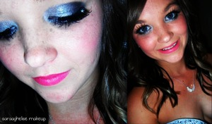 bold eyes and lips for a graduation from beauty college.