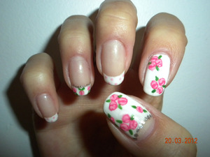 French manicure base, with floral patters, Right hand