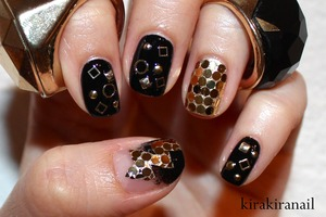 """Tutorial: http://youtu.be/PA73vxb2sB8   Products I used: Square Studs from bornprettystore.com (site-wide 10% off coupon code: KIKW10) Every other Studs: NailSupply (rakuten) """"Black is back"""" (Nr. 144) by essence Base and top coat"""