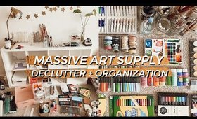 Organizing ALL of My ART + DIY CRAFT SUPPLIES!   *EXTREME* Declutter and Storage Solution Hacks