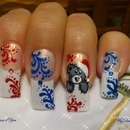 Christmas Teddy bear Nails, blue and red
