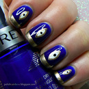 Eye nails in gold and royal blue