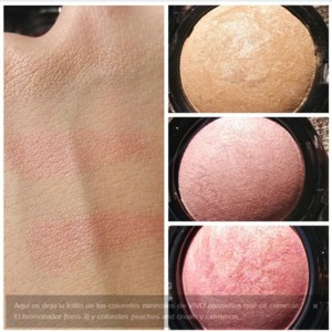 - bronzer in healthy glow - blush in cinnamon - blush in peaches and cream