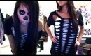 Skeleton Halloween DIY Costume & Makeup - Salinabear Cut Up T-Shirt