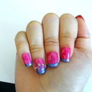 Pretty pink and purple princess crown nails!