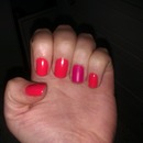 Coral nails with Pink Matte accent nail