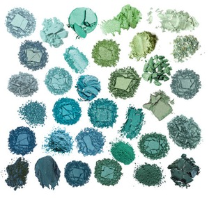 Eyeshadows from teal to aqua to mint. Becasue sometimes it is easy to be green.