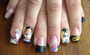 Childs play nails. Chucky and bride of chucky nail design.