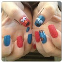 Elmo & Cookie Monster Textured Nails