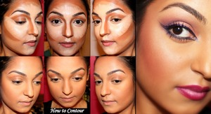 Contouring can really change and enhance your features!   1. Prep your face by applying the foundation of your choice in your actual shade as a base and to cover up any imperfections that you may want to conceal.  2. Choose a concealer that is 2-3 shades lighter than your actual foundation to highlight and bring forward the features you want to enhance.   3. Apply the lighter concealer to the high points on your face which include; the bridge of your nose, forehead, under your eyes (create a triangle shape to really bring our your cheekbones), cupids bow (area above your top lip) and chin. This will create a longer or more oval shaped face.   4. Choose a concealer that is 2-3 shades darker than your foundation to contour your face. This step makes the areas on your face that you do want to be so noticeable recede and create an even more oval shape that is desirable to most individuals. Apply this to the sides of your nose to make your nose appear more straight and thin, around the circumference of your face, and between your ear and mouth to create the perfect contour to enhance your cheekbones.  Tip: Cheek Contour: Place your thumb at the top of your ear where your ear meets the side of your face. You will feel the protrusion of your cheek bone, this is where you want to start your contour. Take your index finger and point it towards the edge of your mouth, the line that your fingers create is here your contour should be placed.   5. After your highlight and contour is placed, take a damp sponge and blend everything together. Be sure to stipple or pounce the sponge along the face so you don't smudge everything together and loose the effect of the contouring.  6. After you have perfectly blended everything together, set everything with a powder. Set your highlight with a lighter powder and your contour in a slightly darker colour.   7. You can then add some colour and define your contour and highlight even more with a blush and add a highlight along your cheekbones.  Hope this helps! :)