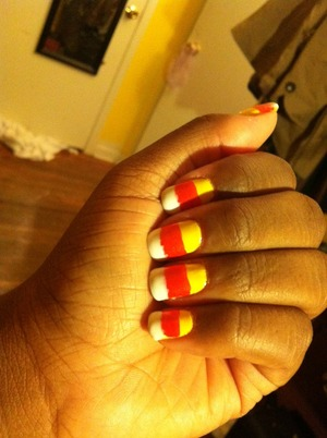 candy corn nails...last minute for halloween