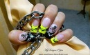 Neon and Black, Barbed Wire & Skull Punk Nail Art Design Tutorial - ♥ MyDesigns4You ♥