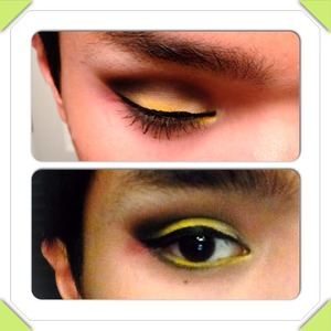 Black smokey eye with yellow lid blended out