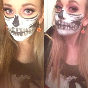 Did a half skull for Halloween, inspired by an Instagram photo I saw that @chrisspy made. Of course it's not as good or detailed but she made it look so good I had to try lol.