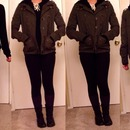 Dark green army-ish jacket. Winter outfit