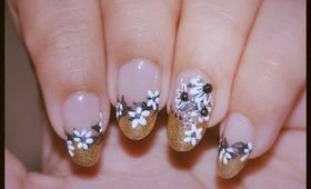 Nail Art for Wedding Prom Gold French Tip with white flower