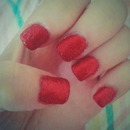 simple red sparkle nails
