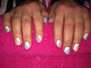 Polka dot nail art, gel polish, red carpet manicure