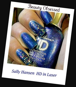 Sally Hansen's HD- High Definition in Laser. Wet n Wild's Party of Five on my index and pinkie finger