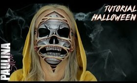 RIPPED face SKULL tutorial for halloween optical illusion makeup