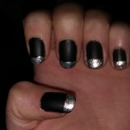 Black matte nails with silver tips