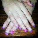 nails plateado y rosa