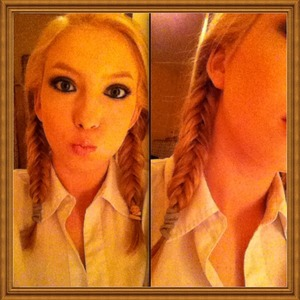 This is my attempt at fishtail braids, I know they aren't perfectly even but did I do ok? :)