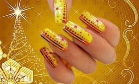 Unusual, Yellow, Christmas Nail Art Design Tutorial - ♥ MyDesigns4You ♥
