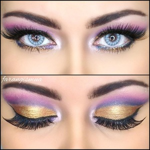 This is a glam not everyday eye look using shimmery colors in the lid and matt on the socket .