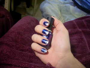 Arrowhead nails! Blue and white for my trip to Quebec (: -Blue is a combo of rimmel 60 seconds Night Before and Orly Lunar Eclipse -White is Orly Instant Artist in Crisp White