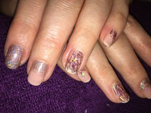 CND shellac, nude and rose gold superfine glitter and Tinsel