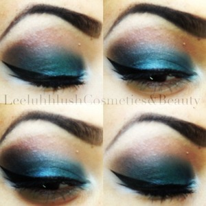 Used a forest green with purple on top to create this gorgeous blue shade smoked out with brown
