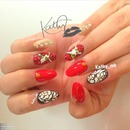 acrylic paint red roses nails